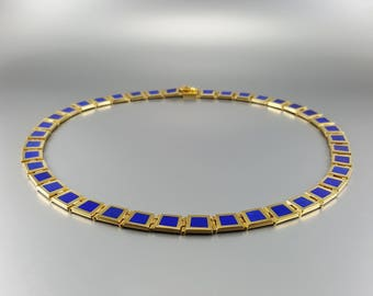 Lapis lazuli Collier/necklace with 18K gold inlay work - natural genuine Lapis Lazuli -blue and gold -Statement Necklace -gift Christmas