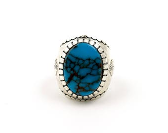 Feather Sterling Silver Egyptian Turquoise Ring by Turquoise Kingdom