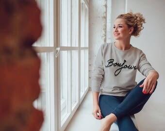 Bonjour Sweatshirt, French Sweatshirt, Paris Sweatshirt, Cute Sweatshirt, Printed Sweatshirt, Graphic sweatshirt, Bonjour shirt, Bonjour tee