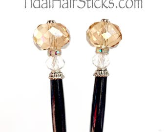 Free Shipping! Beautiful pair of hairsticks- champagne glass beads