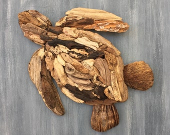 Driftwood Sea Turtle Coastal Wall Decor