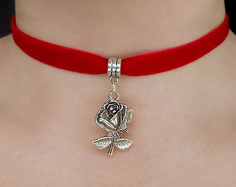 Red Velvet Rose choker - red velvet choker, red choker, rose choker, gothic choker, silver rose choker, rose necklace