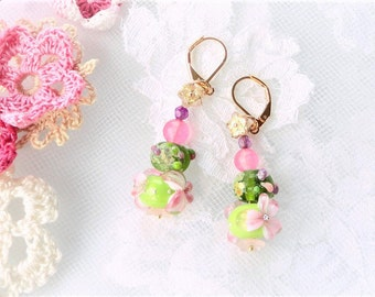 Gift st valentinboule on gold plated earrings 18 k Pearl spun glass bow designer inspired earrings. hand made floral lampwork.