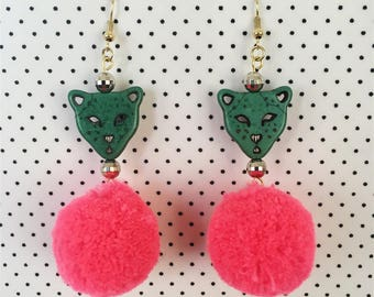 Pom Pom Cat Earrings (Dark Green and Hot Pink)