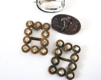 Victorian Shoe Clips & Sterling Silver Pins, Brooches