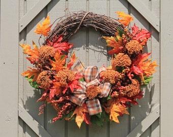 Free Ship, Autumn Wreath, Fall Wreath, Fall Decor, Door Wreath, Wreaths, Front Door Wreath, Farmhouse Decor, Handmade Wreath, Harvest Wreath