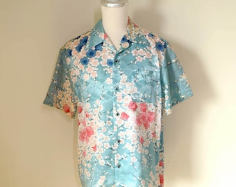 vintage TAMANEGI 【玉蔥工房】 baby blue silk Hawaiian shirt w/ embroidered cherry blossom, made in Japan, size L