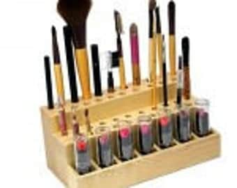 makeup organizer wood. 42 holes/slots! cosmetic/makeup display organizer.lipstick brushes eyeliners natural wood makeup organizer o