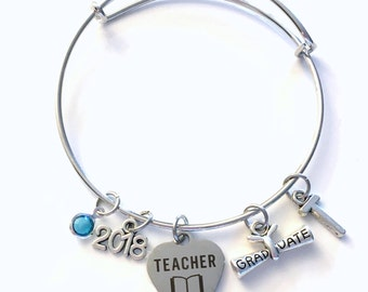 Teacher Graduation Bracelet, Teaching Grad Gift for Education Student 2018 Silver Bangle Jewelry Graduate Charm letter initial her women