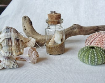 """Long necklace with glass flask, sand and shells-collection """"The Ocean in a bottle"""""""
