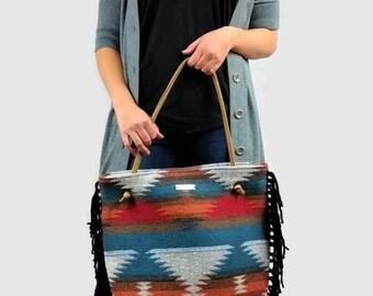 Large Boho Bag - Boho Fringe Handbag, Large Everyday Bag, Aztec Print Handbag, Large Fashion Tote, Aztec Print Purses, Boho Fringe Purse