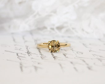 Orange-Brown Rose Cut Moissanite in 9K/9ct Yellow Gold Solitaire Ring