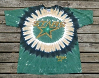 Vintage 90's Dallas Stars Tie-Dye All-over print t-shirt XL