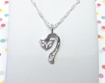 """Fox Necklace """"Love"""" Engraved   CUSTOM MADE - Choice of 925 Sterling Silver Chain or Black Cord   Womens Girls Animal Jewelry Jewellery Gift"""