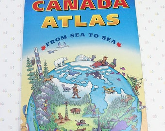Oversized atlas book etsy 1995 canadian atlas oversized board book teaching materials teacher gifts canada map for gumiabroncs Gallery