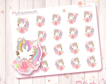 Kawaii Flower Stickers,Pastel Spring Stickers,Kawaii Spring Stickers,Spring stickers,Hello Spring Stickers,Rainbow Unicorn Stickers,cute