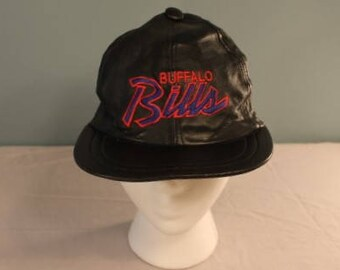 Vintage 1980's NFL Buffalo Bills Black Genuine Leather Snapback Hat