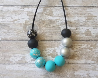 Turquoise and black necklace, Bold necklaces for women, Black turquoise necklace modern, Anniversary gift for wife, Beautiful necklace gift
