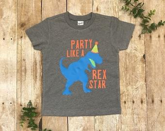 "Dinosaur Birthday Shirt ""Party like a Rex Star"" - toddler t-Shirt."