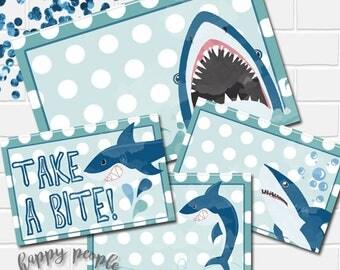 Shark Food Tents, Shark Food Label, Shark Decorations, Shark Party Decor, Shark Label, Shark Printables, Shark Table Decor, Shark Party