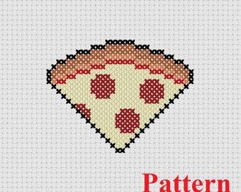 Pizza Counted Cross Stitch PATTERN / Pizza Cross Stitch / Cat toy Cross Stitch Pattern / Small Cross Stitch Pattern / Food Cross Stitch