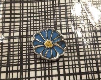 Vintage Arts and Craft blue enamel flower - 1930's