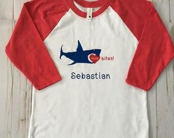 Kids Love Bites Valentines Raglan Shirt, Custom Valentines Raglan, Valentines Day Shirt, V-Day Tee, Kids Baseball Tee,