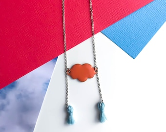 Collar tassels crew-neck sweater / LILAC sky blue and coral necklace / clouds and pom poms in 6 colors / IIWAB Creations