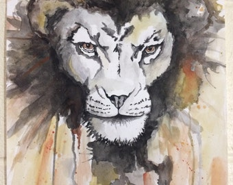 Handpainted Lion Abstract Painting/Watercolor Painting/ Colorful Abstract Art