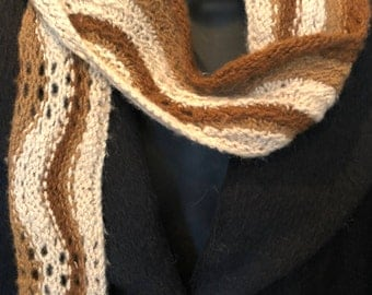 Paco-Vicuna Hand-Knitted Scarf, Beautiful Curved Stripes or Wave Design, Incredibly Soft and Luxurious