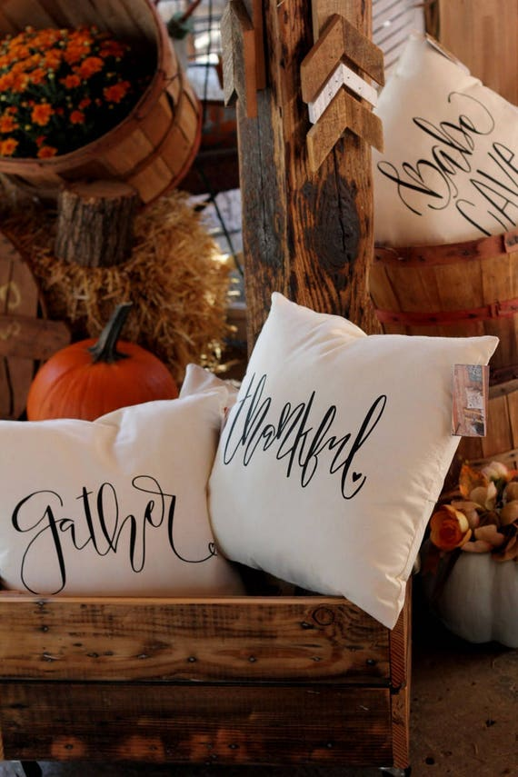 Gather Thanksgiving Harvest Holiday Handwritten Accent Pillow Handmade 16 x 16 Calligraphy Typography Handlettered Design