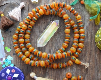 Amber : 10mm Faux Amber Yellow Inlaid Beads, 10 pcs, Coral Turquoise & Wire / Bohemian, Nepal - Tibet Supplies, Prayer Beads, Malas, Supply
