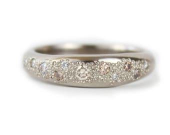 Nature Wedding Ring. 18ct Palladium White gold Wedding Ring with White and Champagne Diamonds