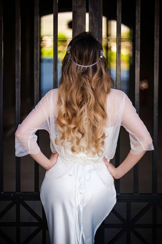 Bridal Headpiece, Head Chain, Bridal Hair Chain, Rhinestone Head Chain, Bohemian Headpiece, Art Deco Hair Chain, Draped Hair Chain KATY