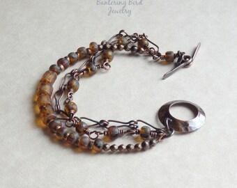 Amber Multi Strand Boho Bracelet, Czech Glass Beads and Handmade Antiqued Copper Chain, Beaded Gypsy Bracelet, Copper Jewelry