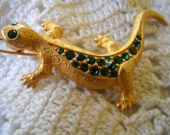 Vintage Green Rhinestone Lizard Barrette, Green Eyed Lizard Hair Jewelry, Gold Lizard Hair Jewelry, Animal Barrette, Lizard Jewelry