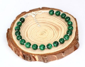Malachite Bead Bracelet, Gemstone Bracelet, Success Bracelet, Travellers Protection Bracelet