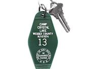 Camp Crystal Lake Key Tag, Friday the 13th Keychain, Jason Voorhees Key fob Hotel Key Cabin Key Camp Blood Motel Key Horror Movie F13