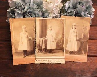 3 Antique Confirmation Cabinet Cards Photographs, Little Girls Catholic Communion, Crowns Headdress, Late 1800s Vintage Photo