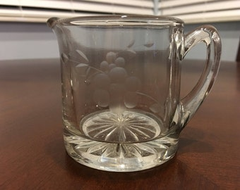 Etched Glass Creamer, Etched Flower Glass Cream Pitcher, Heisey Glass