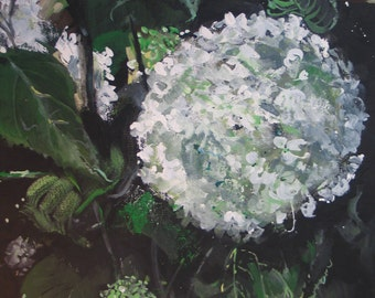 Hydrangea Artist ORIGINAL 12 x 12 inch wrapped canvas Available, Copyright