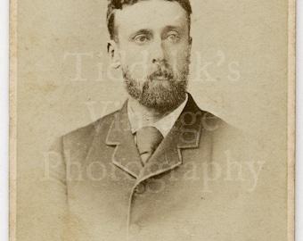 CDV Carte de Visite Photo Young Victorian Handsome Bearded Smart Man Portrait - T Fall of Portman Square W London England - Antique Photo
