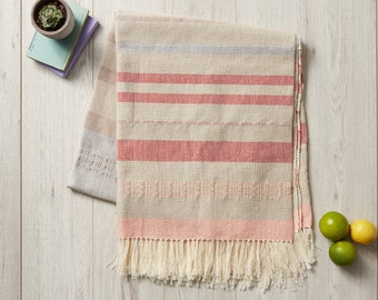 Mexican Blanket, Beach Blanket, Picnic Blanket, Woven Tablecloth, Striped Mexican Serape, Mexican Throw, Warm Neutral Colours, Bedspread,