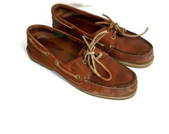Vintage Boat Shoes Brown Leather Loafers 80s 1980s TIMBERLANDs  Lace up flats Preppy Minimalist Boho slip ons Womens size 8.5
