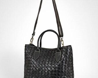 Leather handbag - leather bag - leather bag black - leather bag women - leather crossbody black - leather purse black - black handbag |hs|