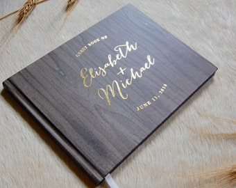 Rustic Wedding Guest Book, Woodsy Wedding Guestbook, Custom Guest Book, Gold Foil Guest Book, Personalized Guest Book, Wedding Photo Book
