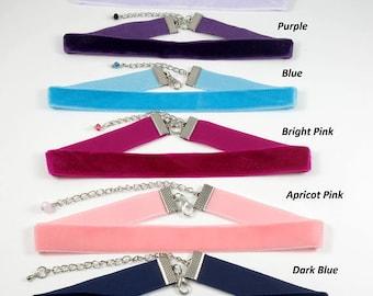Velvet Choker Necklace Pink Choker Blue Choker Navy Choker Women Choker Grunge Choker 90s Choker Plain Choker Ribbon Choker Thin Chokers