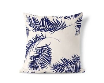 Blue Feather Pillow - Blue Accent Pillow - Modern Farmhouse - Blue Palm Pillow - Throw Pillow Cover - Decorative Pillows - Textured Pillows