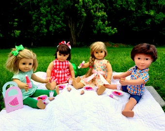American Girl Picnic Accessories 18 Inch Doll: Tote, Plates, Cups, Napkins, Lemonade, Sandwiches, Fruit, Summer Party, BBQ