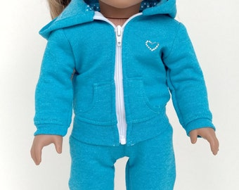 Hoodie. 18 inch doll clothes. american girl doll. 18 inch doll clothing.Blue hoodie,and Sweat Pants